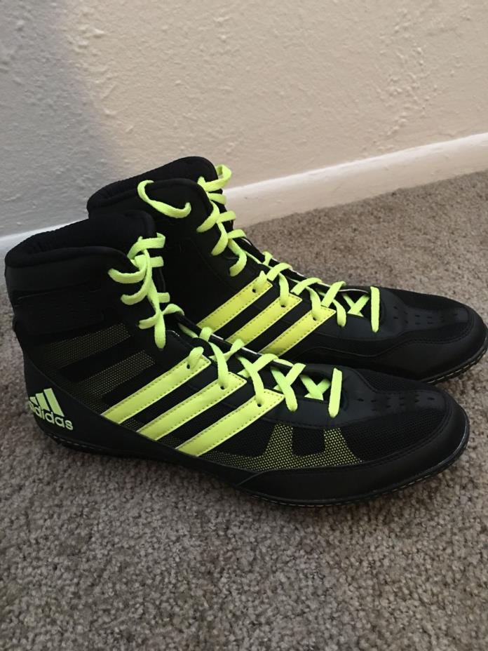 Adidas Mat Wizard David Taylor Wrestling Shoes Black and Solar Yellow 9.5