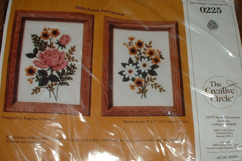 Creative Circle Crewel Kit #0225 Roses and Daisies NEW & Sealed SPRING FLOWERS