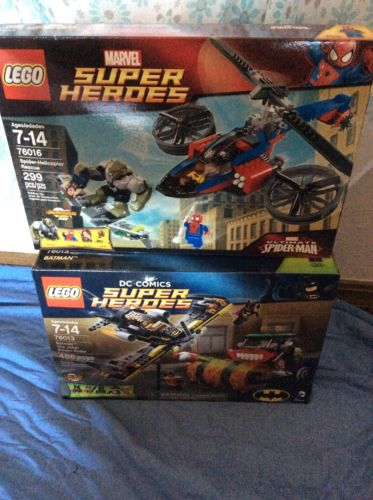Lego Hero Lot Batman Joker Steam Roller &  Spider Man Helicopter 76013 76016