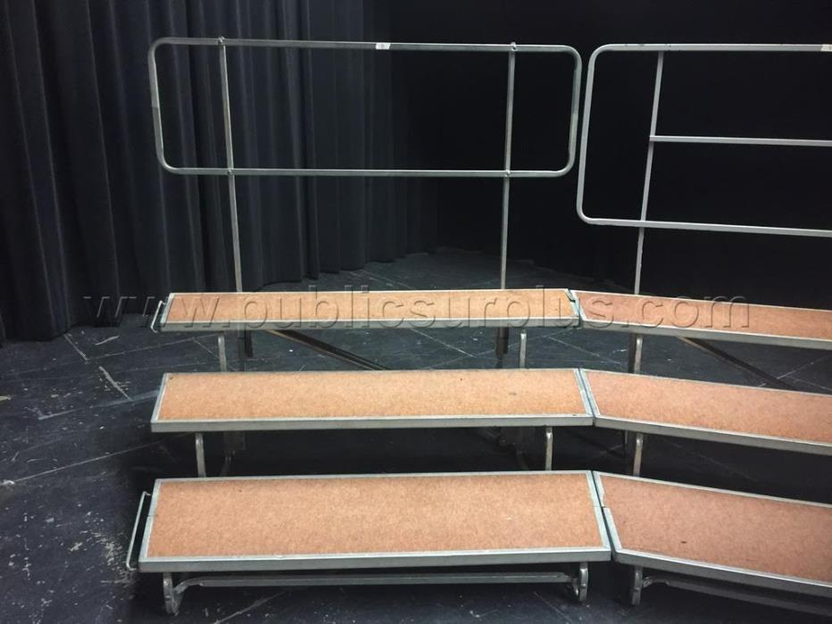 8 - WENGER 3 STEP CHOIR RISERS W/ BACK RAILS  - all 8 for $1200