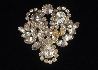 Juliana White Clear Rhinestone Silver Tone Pin Brooch
