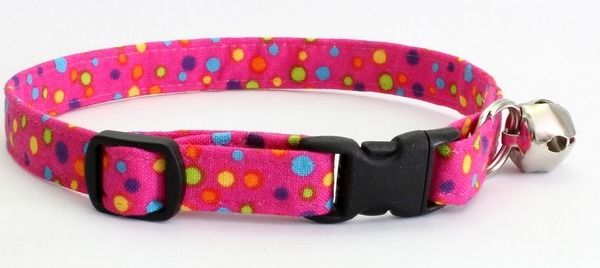 TINY COLORED DOTS / HOTPINK ~ Handmade Breakaway SAFETY CAT Collar