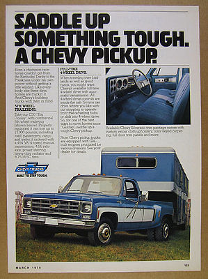 1978 Chevy C30 Big Dooley dually Pickup blue white truck photo vintage print Ad