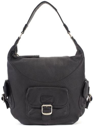 MICHAEL MICHAEL KORS Black Pebbled Leather Buckle Detail Hobo Shoulder Bag