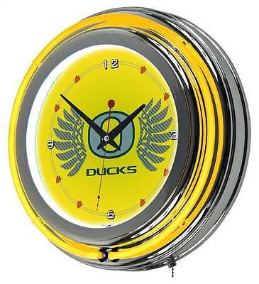 University of Oregon Wings Double Ring Neon Clock [ID 3356446]