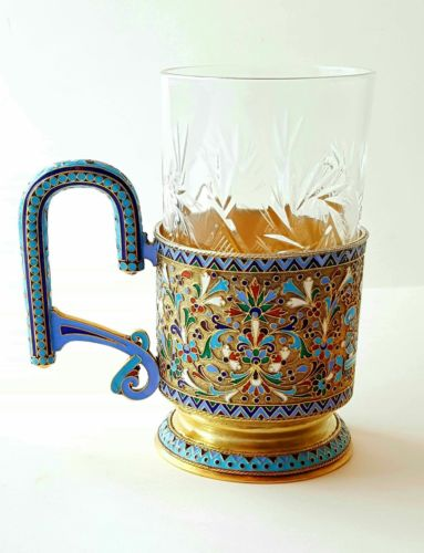 Beautiful 19C Russian Gilt Silver Enamel Tea Glass Holder Podstakanik