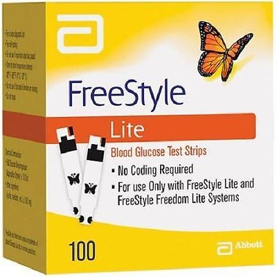 FreeStyle Lite Blood Glucose Test Strips Box of 100 exp. 10/2018 Sealed Box