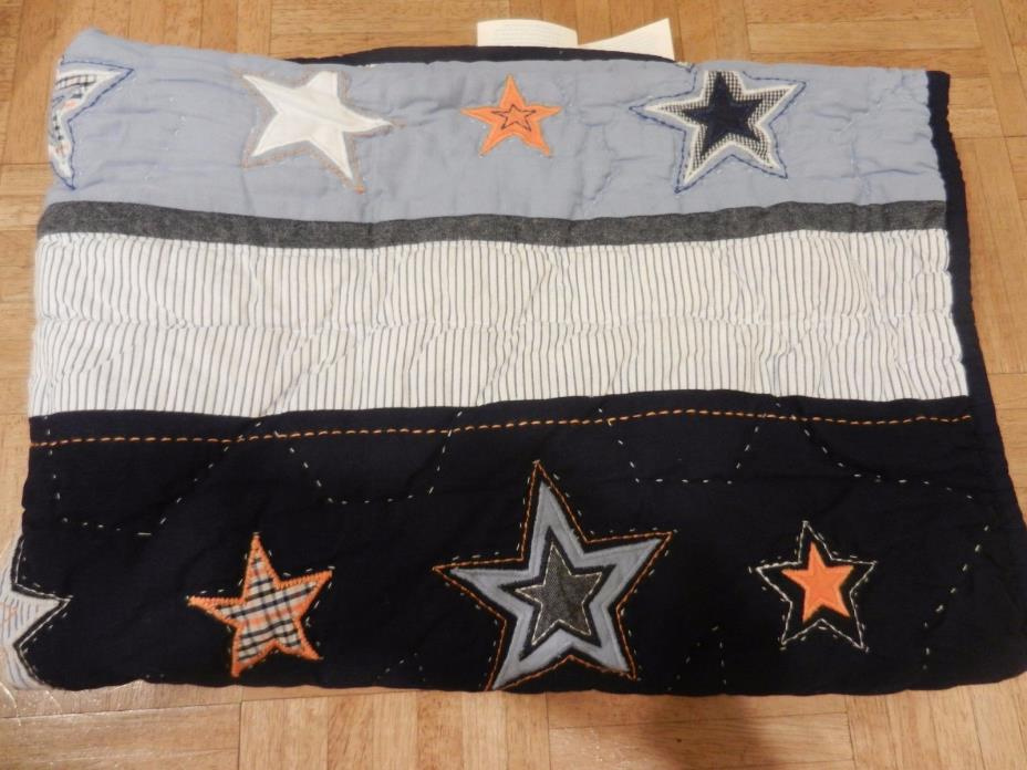 Pottery Barn Baby Toddler Star Applique Quilt Stars Blue, Orange, White New