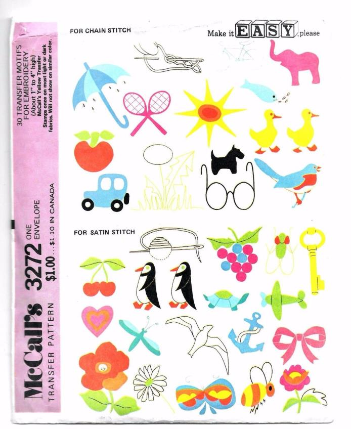 NEW Uncut McCall's 3272 47 Transfer Motifs for Embroidery Chain & Satin Stitch