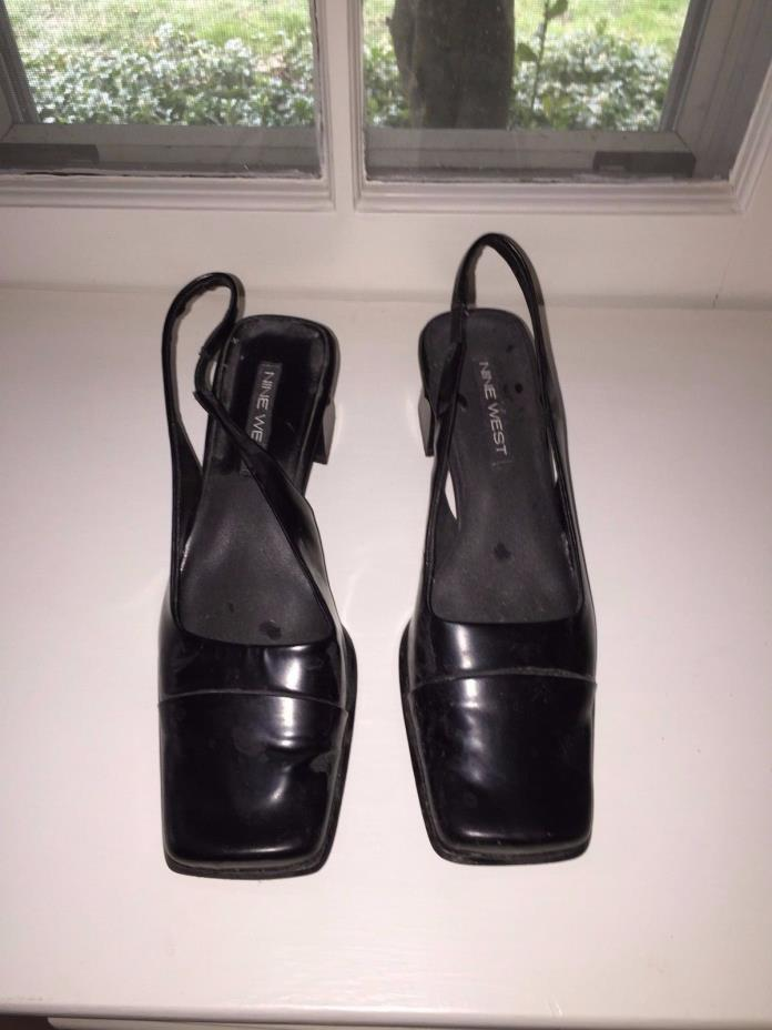 Ladies Nine West Size 8 Black Sling Back Heels