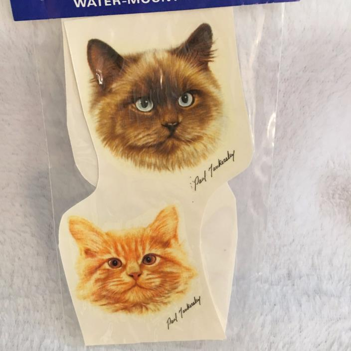 Vintage Ceramic Decal: Cat Faces from Color Brite