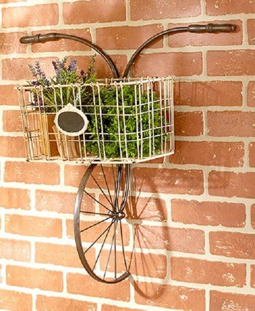 Vintage Look With Distressed Metal Bicycle Wall Basket