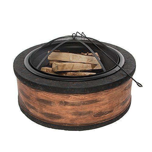 Rustic Wood Fire Pit Cast Stone Outdoor Durable with Wire Mesh Screen Good Touch