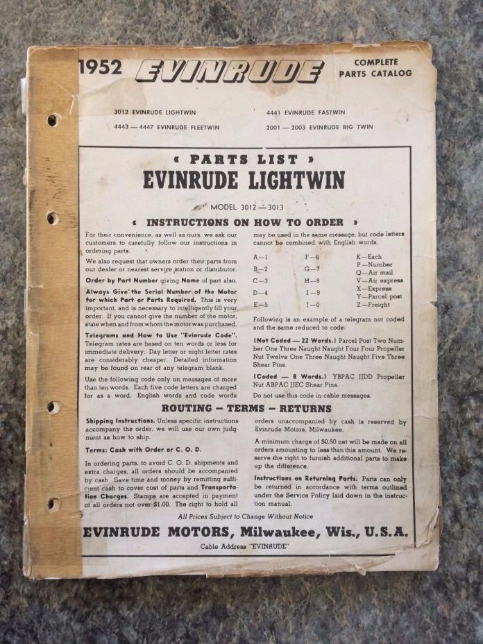 VINTAGE 1952 EVINRUDE LIGHTWIN OUTBOARD MOTOR PARTS CATALOG  BOAT ADVERTISING