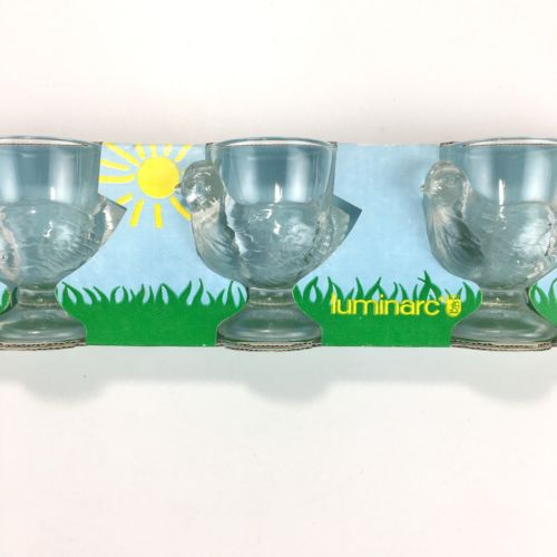 Vintage Luminarc France Egg Cups 3 In Package Glass Chicken Egg Holders  New