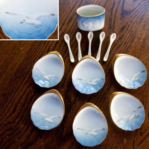 6 Oyster Dish B&G Denmark Bing Grondahl Seagull Gold Trim Spoon Toothpick Holder