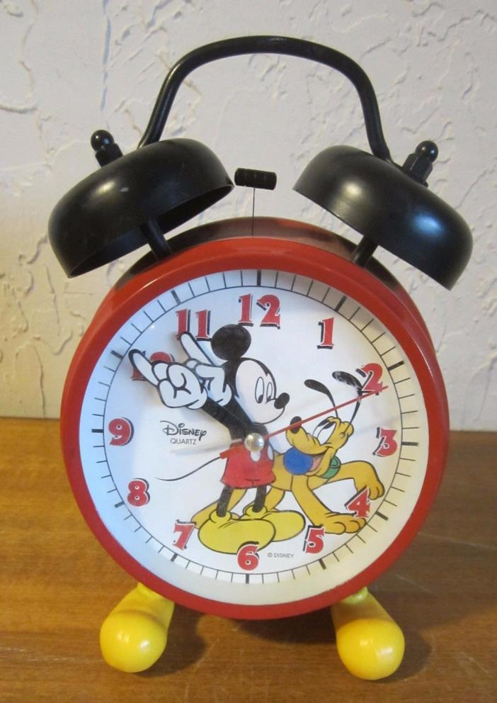 Disney Alarm Clock Mickey Mouse and Pluto Twin Bell Moving Arms & Yellow Feet