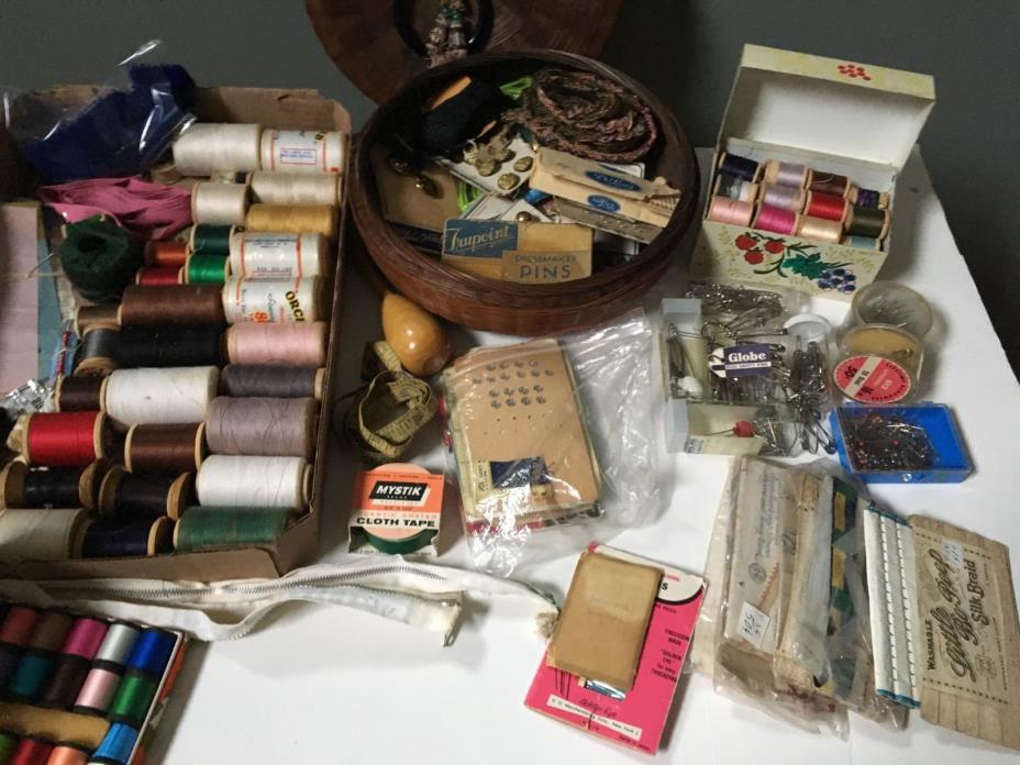 Lot Vintage Sewing Notions Wood Spools Snaps Hooks Pins Cloth Measure Buttons