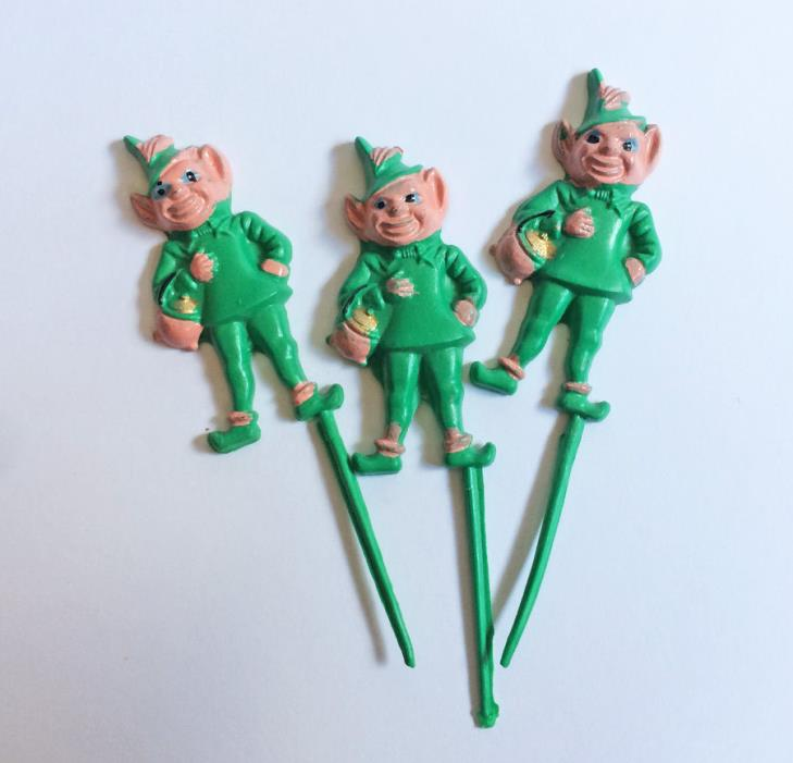 St. Patrick's Day LEPRECHAUN Cupcake Craft Picks Green Irish Vintage Decoration