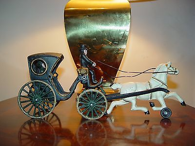 Vintage Cast Iron Horse-drawn Carriage with Driver and Passenger ca.1960's