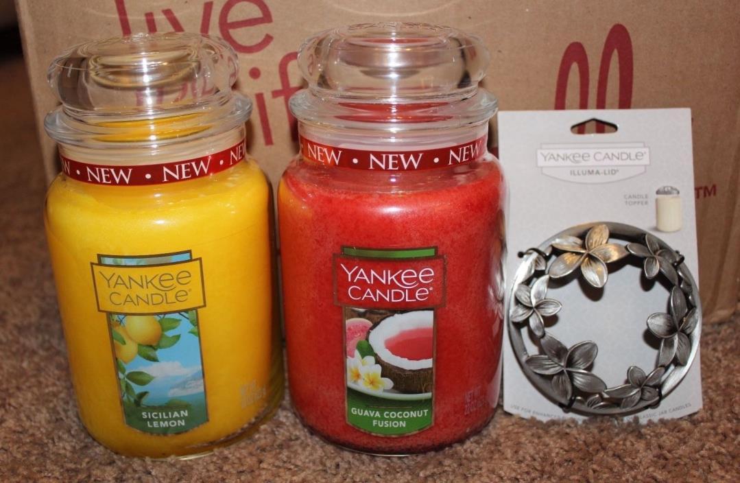 Yankee Candle Sicilian Lemon & Guava Coconut Fusion & Tahitian Mist Illuma-Lid