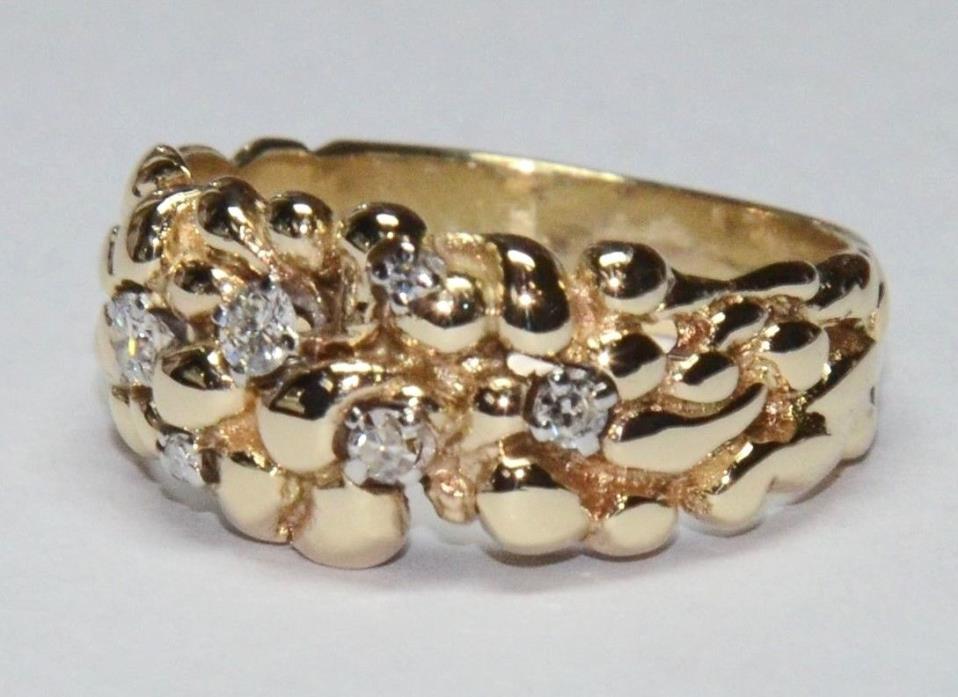14K Diamond Nugget Ring Men's Solid Yellow Gold 7g Round Cut Vintage Sz 9 NICE!!