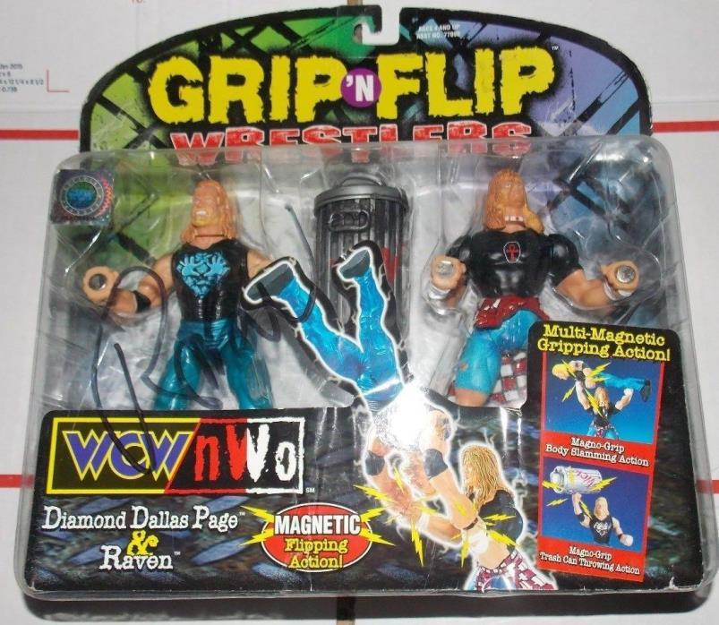 Signed WCW NWO Grip N Flip Action Figure Set Raven Diamond Dallas Page DDP WWE