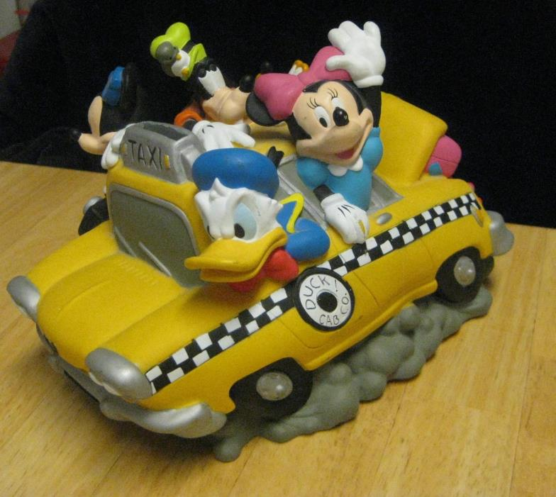 Disney Mickey Mouse, Minnie & Friends In Taxi Money Coin Savings Piggy Bank