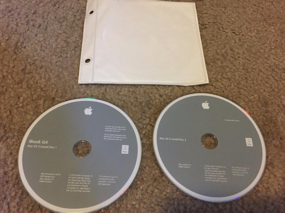 Apple iBook G4 Install Discs OS X Tiger version 10.4.2