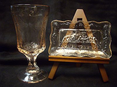 VINTAGE PALE PINK DEPRESSION GLASS WATER GOBLET WITH LAST SUPPER DISH TRAY