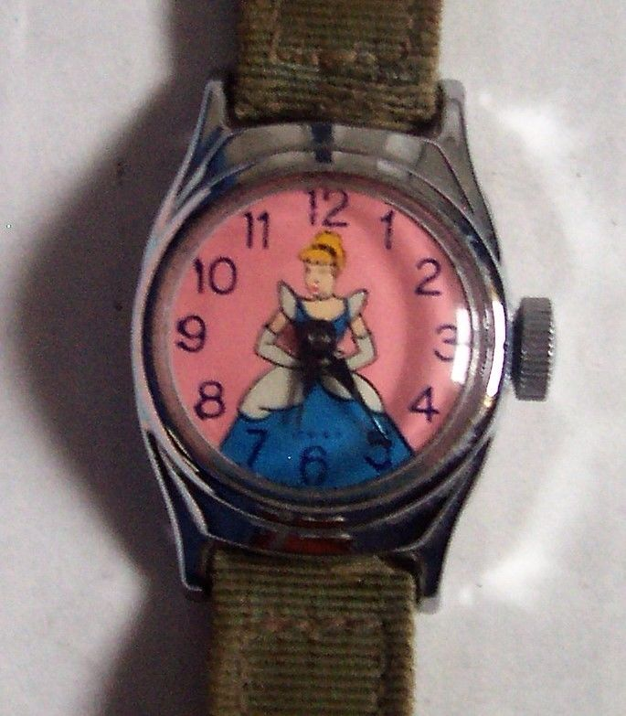 Vintage CINDERELLA DISNEY Watch US TIME Co. 50'S