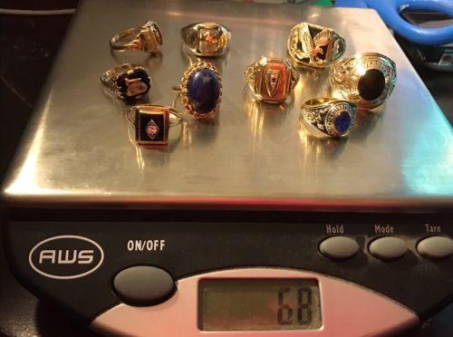 FINE JEWELRY !!!! Scrap Gold 68 Grams All Wearable 10kt + One 14kt Rings.