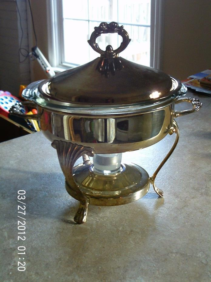 Silver Plate Chafing Dish - Round Marinex Glass Casserole Serving Dish