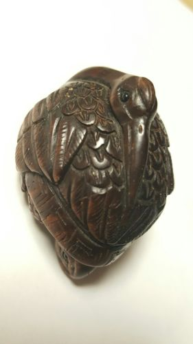 ANTIQUE FINE HANDCARVED WOODEN NETSUKE DUCK AND TURTLE FIGURE