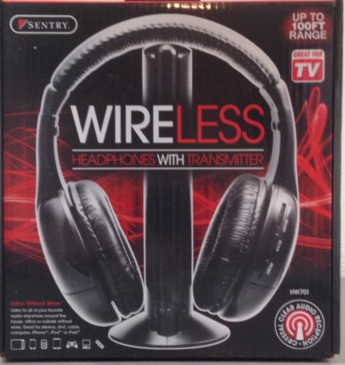 Sentry Hi-Fi Wireless Headsets Headphones + FM Transmitter for Laptops PC TV MP3