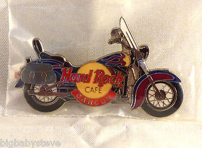 Hard Rock Cafe CANCUN Blue & Red Flames Motorcycle With Saddle Bags Pin