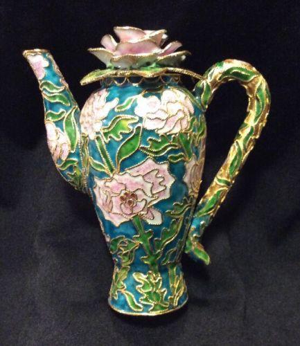 Cloisonné Enameled Decorative Pitcher Vase Rose Raised Gold Design Multi Color