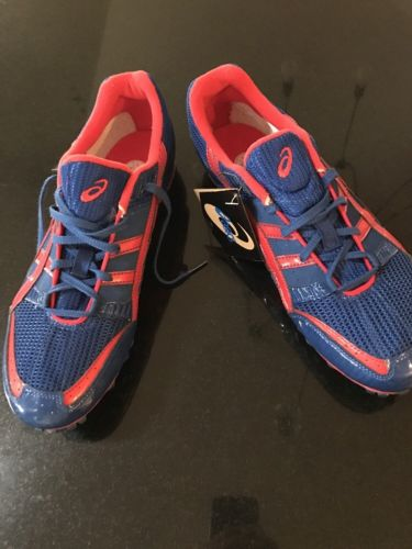 NEW Asics Hyper Men's Blue & Red Track Field Shoes Spikes Sz 12