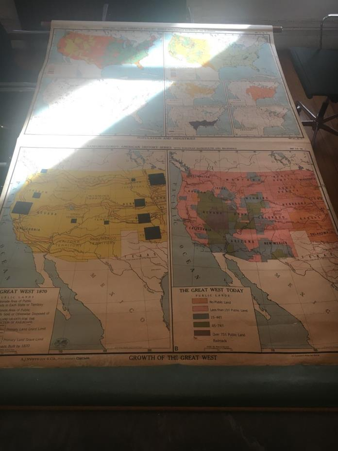 Vintage USA Pull Down School Map