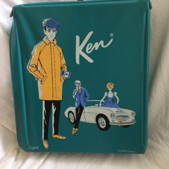 Original Mattel 1962 Vintage Teal Ken Barbie Portable Closet w/ Pull Out Drawers
