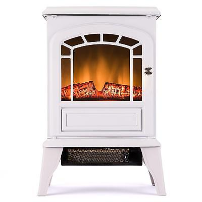 Free Standing Electric Stove White Retro Portable Vintage Fireplace 23 Inch