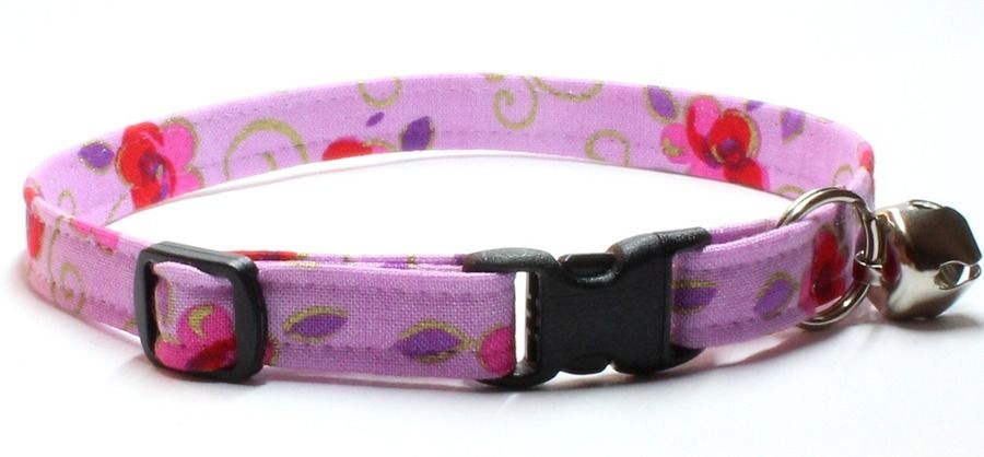 RED PINK FLOWERS / PURPLE ~ Handmade Breakaway SAFETY CAT Collar