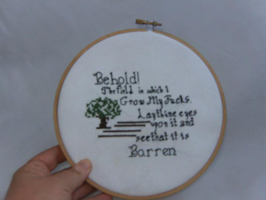Behold my barren fields cross stitch, fuuny, cussing, wall art, wall decor, gift