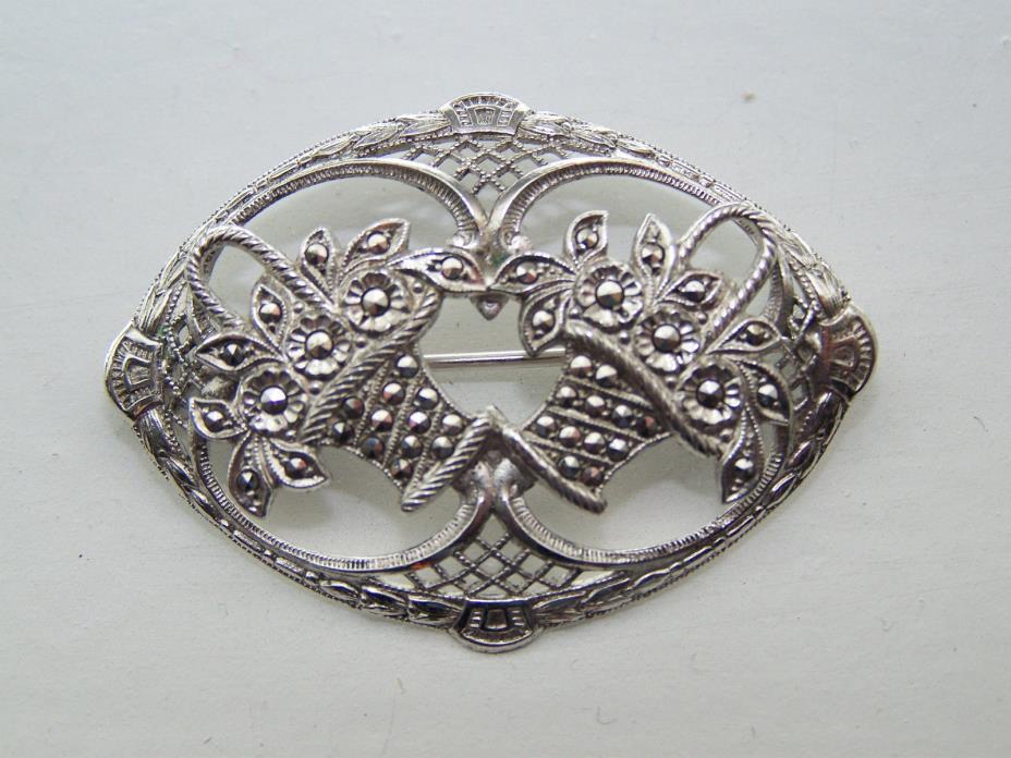 Vintage Sterling Silver & Marcasite Floral Baskets Brooch - Excellent Cond.- 403