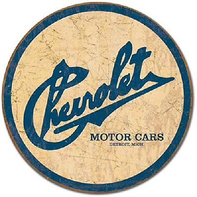 Chevrolet Chevy Vette Historic Vintage Logo Round Metal Tin Sign Wall Decor New