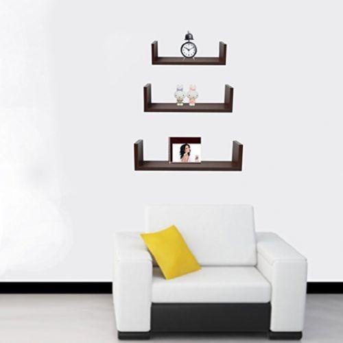 Halter Wall Shelves - Set of 3 U Shaped Floating Shelves