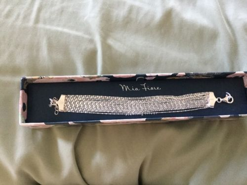 MADE IN ITALY .925 Sterling Silver 3-Strand Station Bracelet NIB Mia Fiore