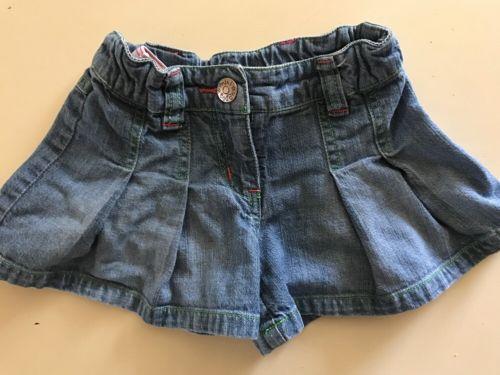 MINI BODEN Girls Shorts Jean Front Pleats 4-5Y Spring Summer Adjustable Denim