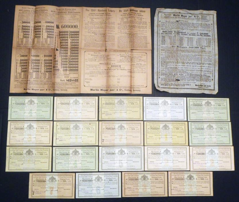 1903-1904 COLLECTION OF 19 HAMBURG GERMANY SAMPLE LOTTERY TICKETS & ADVERTISING