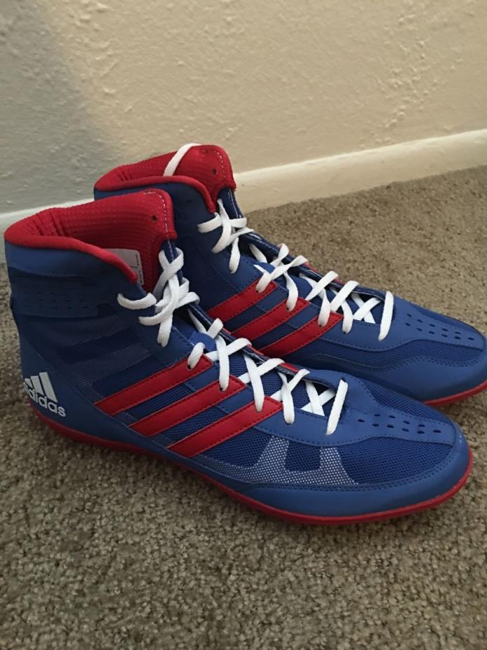 Adidas Mat Wizard David Taylor Wrestling Shoes Red, White, and Blue 9.5